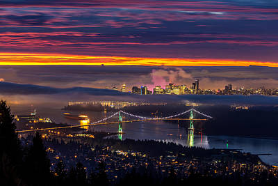 Sunrise From West Vancouver Poster by Pierre Leclerc Photography