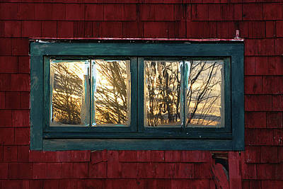 Poster featuring the photograph Sunrise In Old Barn Window by Susan Capuano