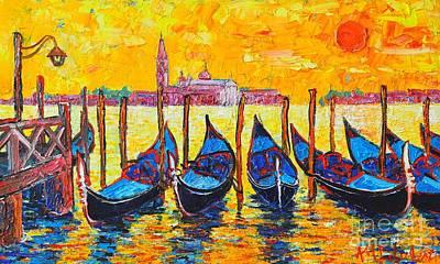 Sunrise In Venice Italy Gondolas And San Giorgio Maggiore Poster