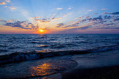 Poster featuring the photograph Sunrise Lake Michigan August 10th 2013 002 by Michael  Bennett