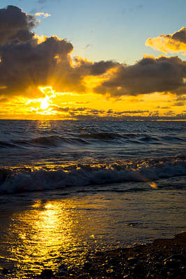 Poster featuring the photograph Sunrise Lake Michigan August 30th 2013 001  by Michael  Bennett