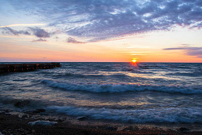 Poster featuring the photograph Sunrise Lake Michigan August 8th 2013 003 by Michael  Bennett