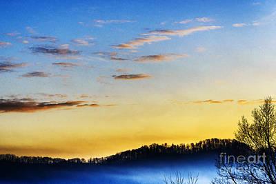 Sunrise Mist In Valley Poster