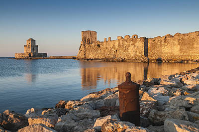 Sunrise On Methoni Fortress Poster by Peter Eastland