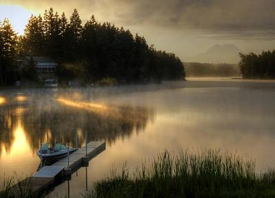 Sunrise On The Lake Poster by Peter Mooyman