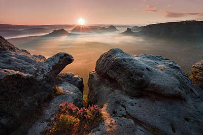 Sunrise On The Rocks Poster