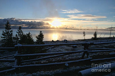 Sunrise On Yellowstone Lake Poster by Edward R Wisell