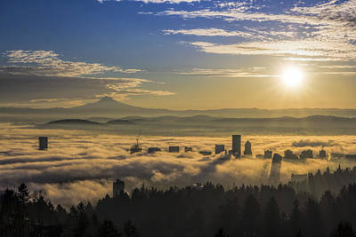 Sunrise Over Foggy Portland Poster