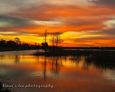 Sunrise Over Lake Mattamuskeet Poster by Bruce A Lee