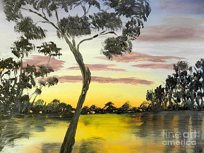 Sunrise Over The Murray River At Lowson South Australia Poster