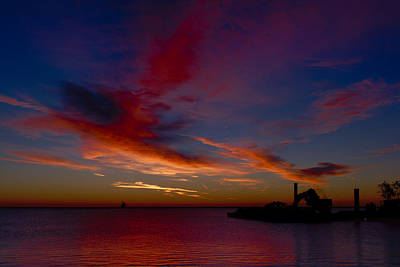 Poster featuring the photograph Sunrise Over The Port Of Milwaukee by Chuck De La Rosa