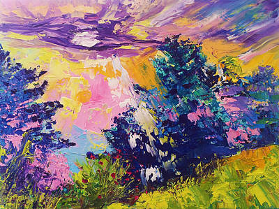 Sunrise Painting Oil On Canvas Ekaterina Chernova Poster