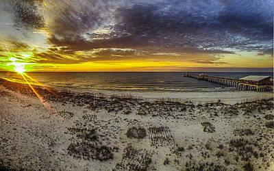 Sunrise Pier And Sun Poster