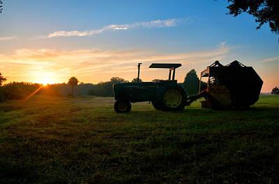 Sunrise Tractor Poster by Scott Hansen