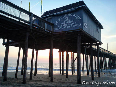 Sunrise Under The Oc Fishing Pier Poster