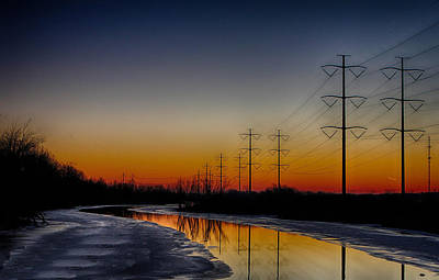 Sunrise Winter Reflection Poster