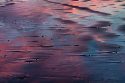 Sunser Reflection In The Black Sand Poster