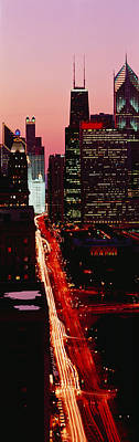 Sunset Aerial Michigan Avenue Chicago Poster by Panoramic Images