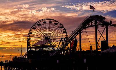 Sunset Amusement Park Farris Wheel On The Pier Fine Art Photography Print Poster