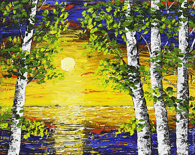 Sunset And Birch Trees Palette Knife Painting Poster by Keith Webber Jr