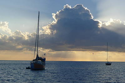 Sunset And Boats - St. Lucia Poster by Nora Boghossian