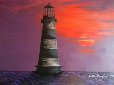 Sunset And Lighthouse Poster by Joetta Beauford