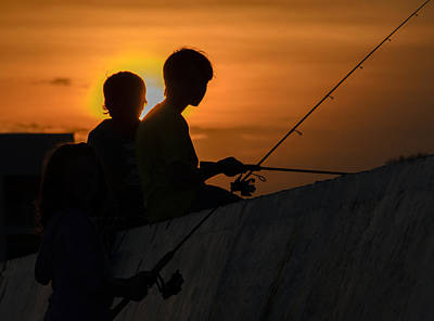 Sunset Anglers Poster by Keith Armstrong