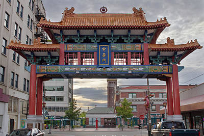 Poster featuring the photograph Sunset At Chinatown Gate In Seattle Washington by JPLDesigns