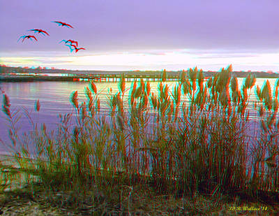 Sunset At Fort Smallwood - Use Red/cyan 3d Glasses Poster