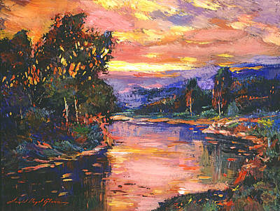 Sunset At Gentle River Poster by David Lloyd Glover