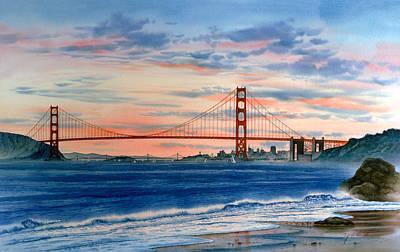 Sunset At Golden Gate Bridge Poster by John YATO