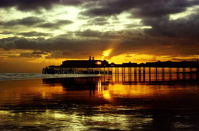 Sunset At Hastings Pier Uk Poster by Maggie McCall