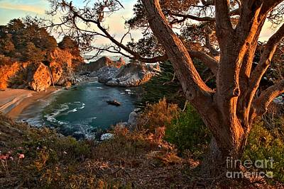 Sunset At Mcway Falls Poster