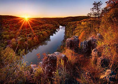 Sunset At Paint-rock Bluff Poster