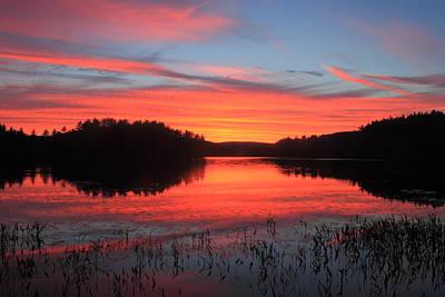 Sunset At Quabbin Reservoir Poster by John Burk