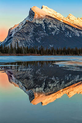 Sunset At Rundle Mountain Poster