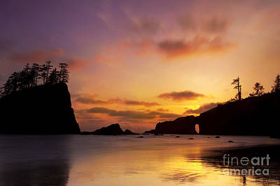 Sunset At Second Beach Poster by Keith Kapple