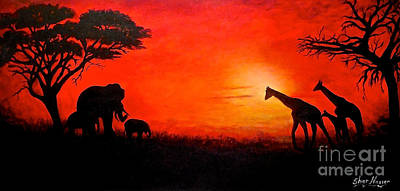Poster featuring the painting Sunset At Serengeti by Sher Nasser