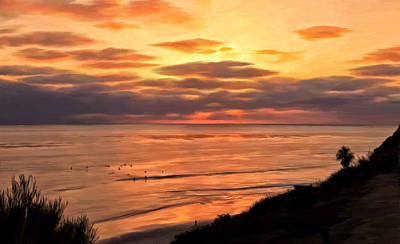 Sunset At Swami's Encinitas Poster by Michael Pickett