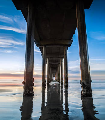 Sunset At The Iconic Scripps Pier Poster by Larry Marshall