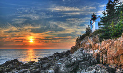 Sunset At The Lighthouse Poster by Sharon Batdorf