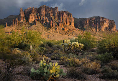 Sunset At The Superstition Mountains Poster