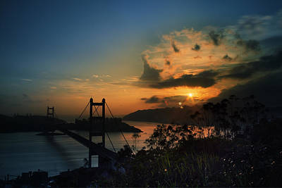 Sunset At Tsing Ma Bridge Poster by Afrison Ma