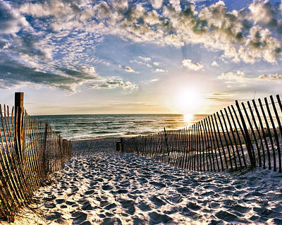Sunset Beach 30a Rosemary Florida White Sand Pathway Art Poster