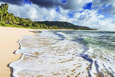 Poster featuring the photograph Sunset Beach Foamy Shoreline by Aloha Art