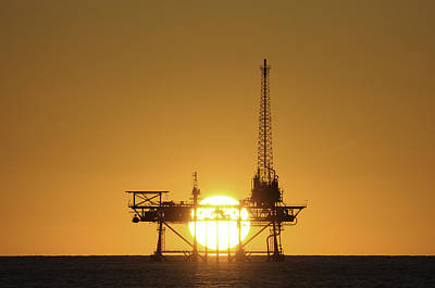 Poster featuring the photograph Sunset Behind Oil Rig by Bradford Martin