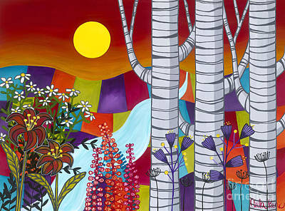 Sunset Birches Poster