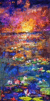 Sunset By The Lily Pond Poster