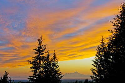 Sunset Clouds Blaze Orange Over Iliamna Poster