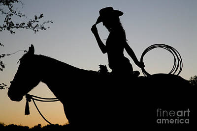 Sunset Cowgirl With Horse Poster